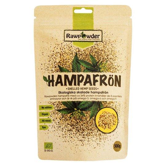 Rawpowder Ekologiska Hampafrön Skalade, 300 g