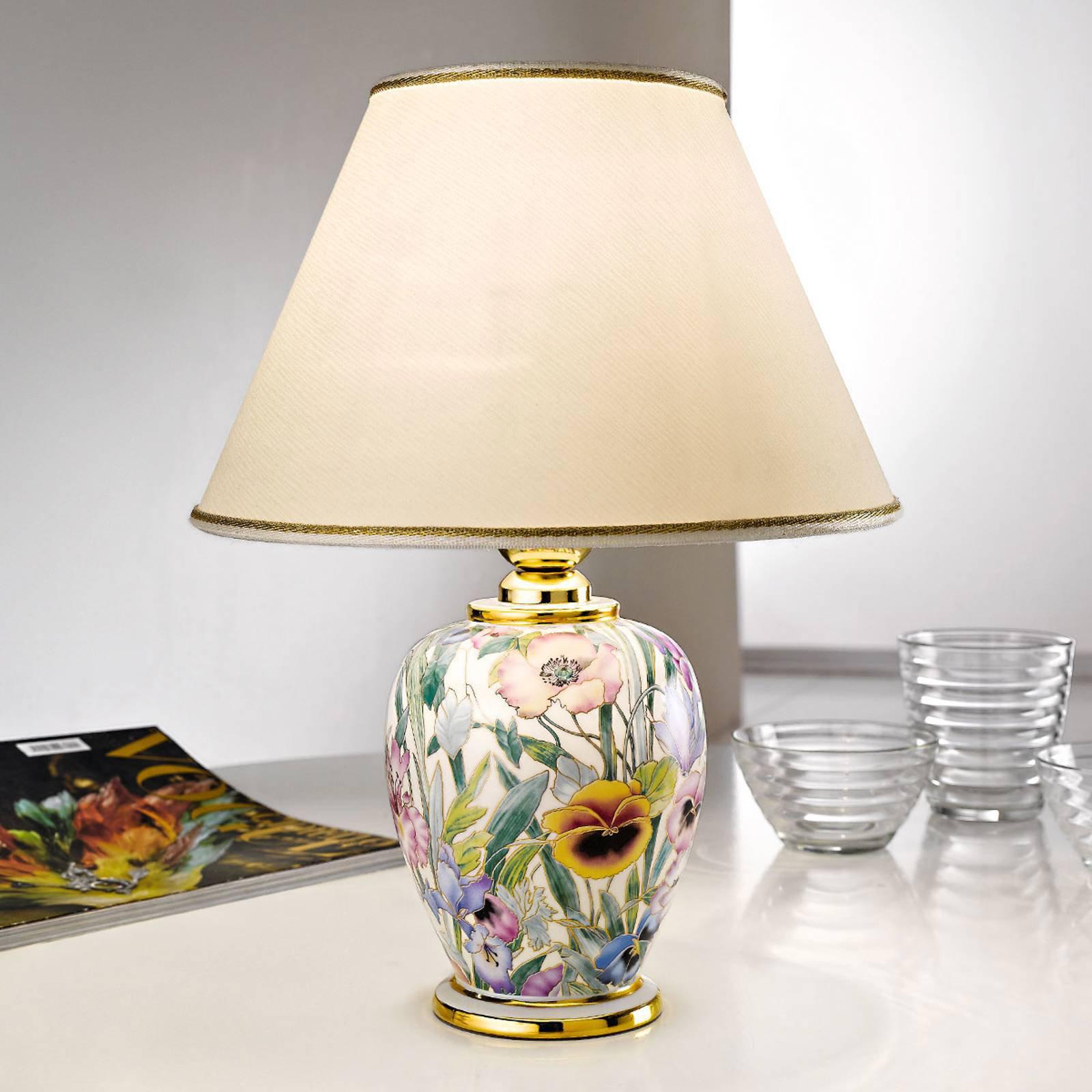 Bordlampe Giardino Panse, blomstertrykk, Ø 25 cm