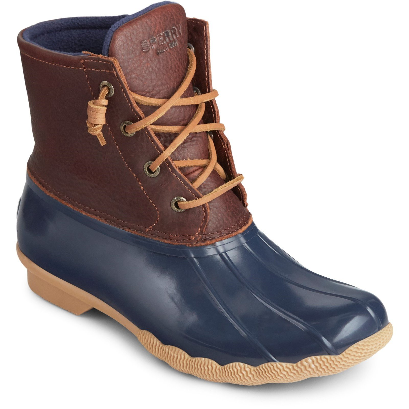 Sperry Women's Saltwater Duck Weather Boot Muticolor 32237 - Tan/Navy 5
