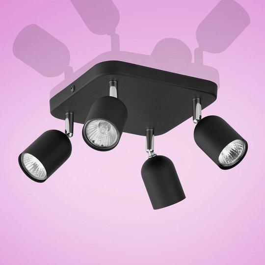 Top takspot, 4 lyskilder, kvadratisk svart