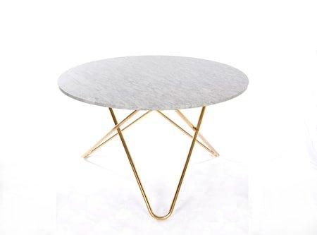 Big O Spisebord Messing/Hvit Marmor Ø120