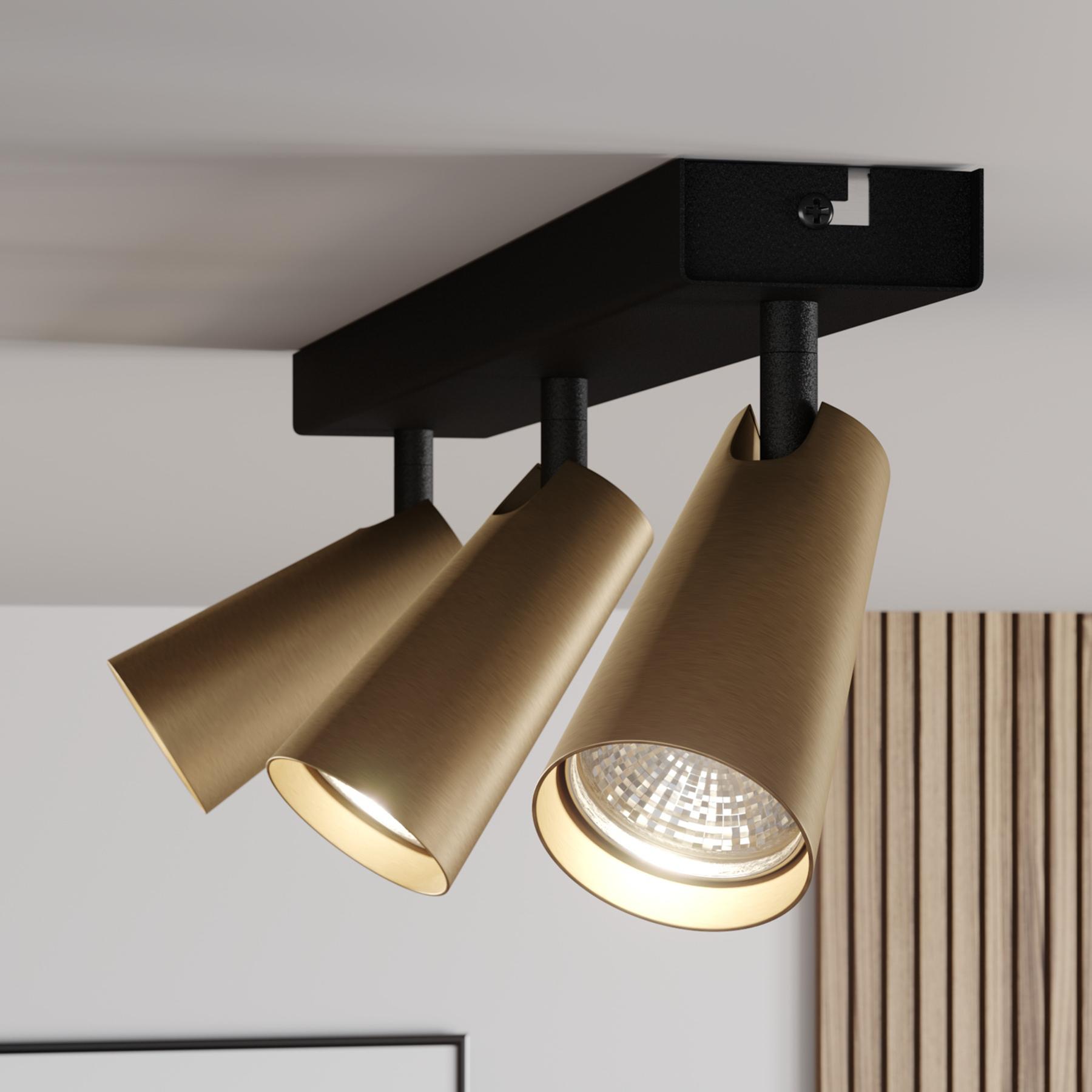 Lucande Angelina -kattovalo messinki-kulta 3-lamp.