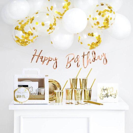 Dekorationspaket Happy Birthday Guld Metallic
