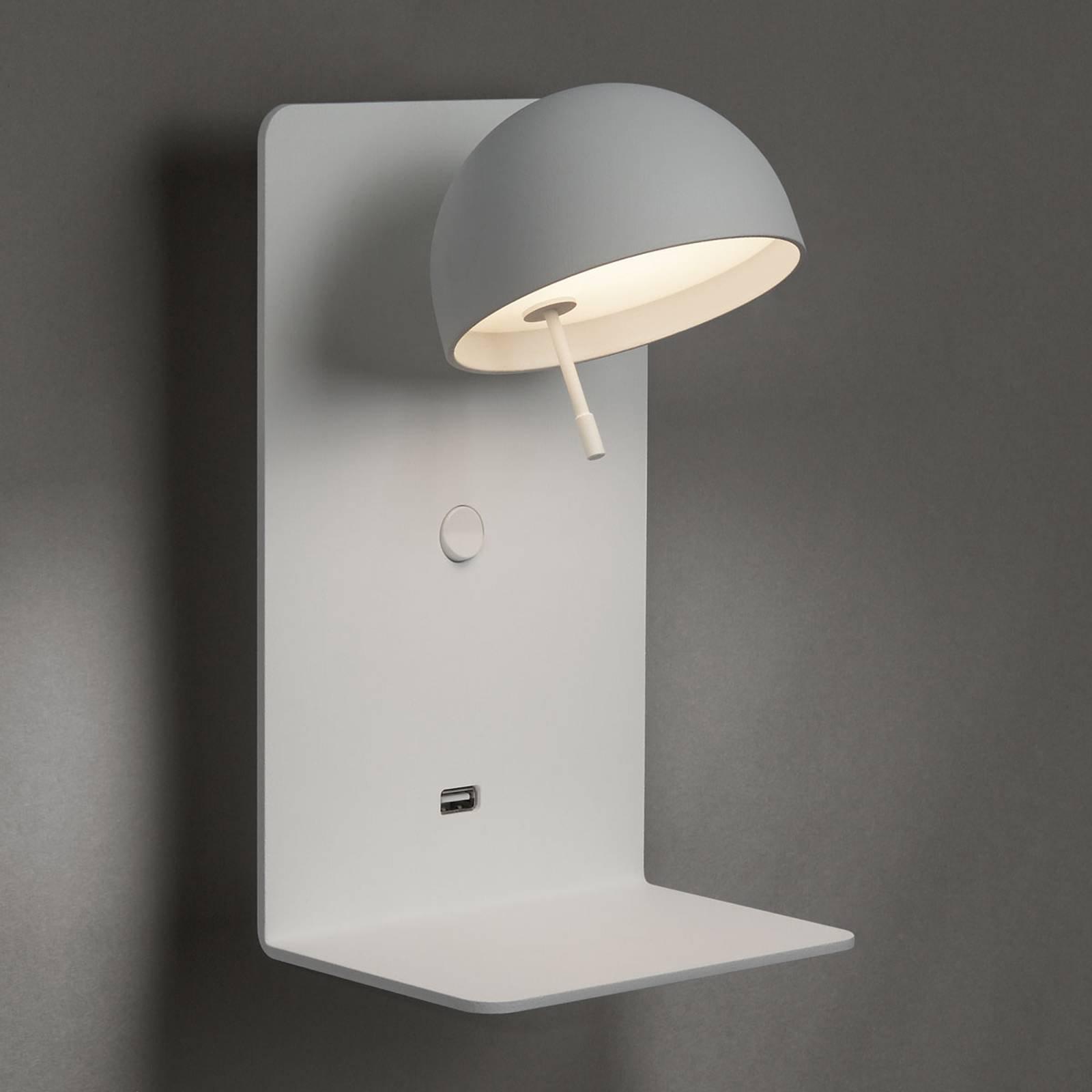 Bover Beddy A/02 LED-vegglampe hvit med USB-port