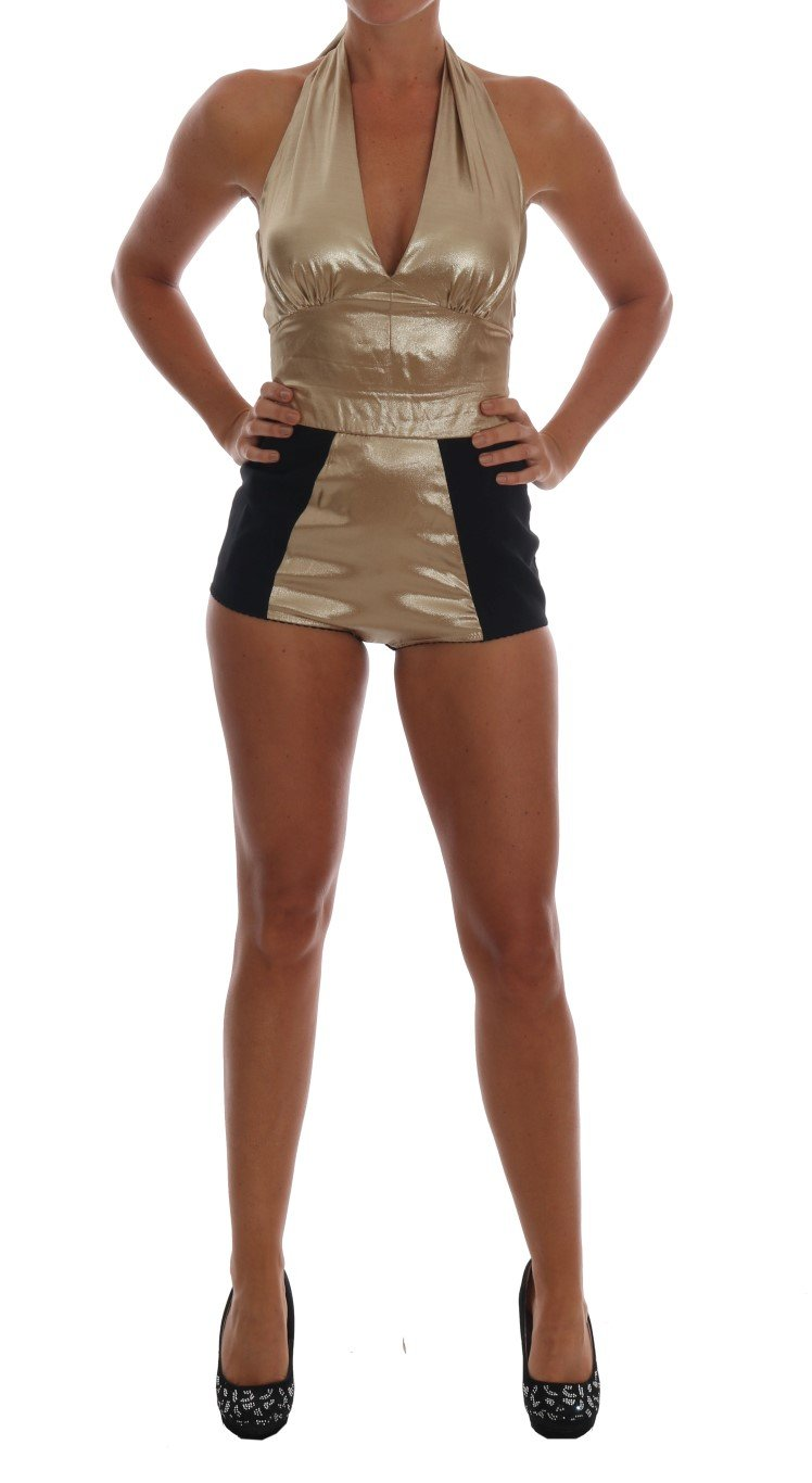 Dolce & Gabbana Women's Silk Stretch Romper Dress Gold TSH1430 - IT40|S
