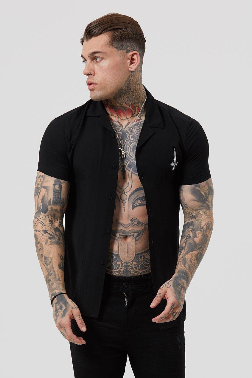 Res Plain Resort Men's Shirt - Black, Small