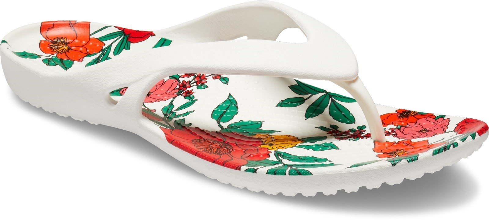 Crocs Women's Kadee II Print Floral Flip Flop Multicolor 30617 - White/Floral 3