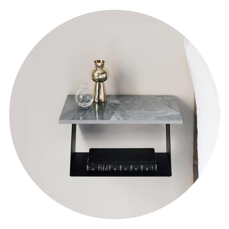 Vägghängt Sängbord Edgy svart/ marmor, Maze