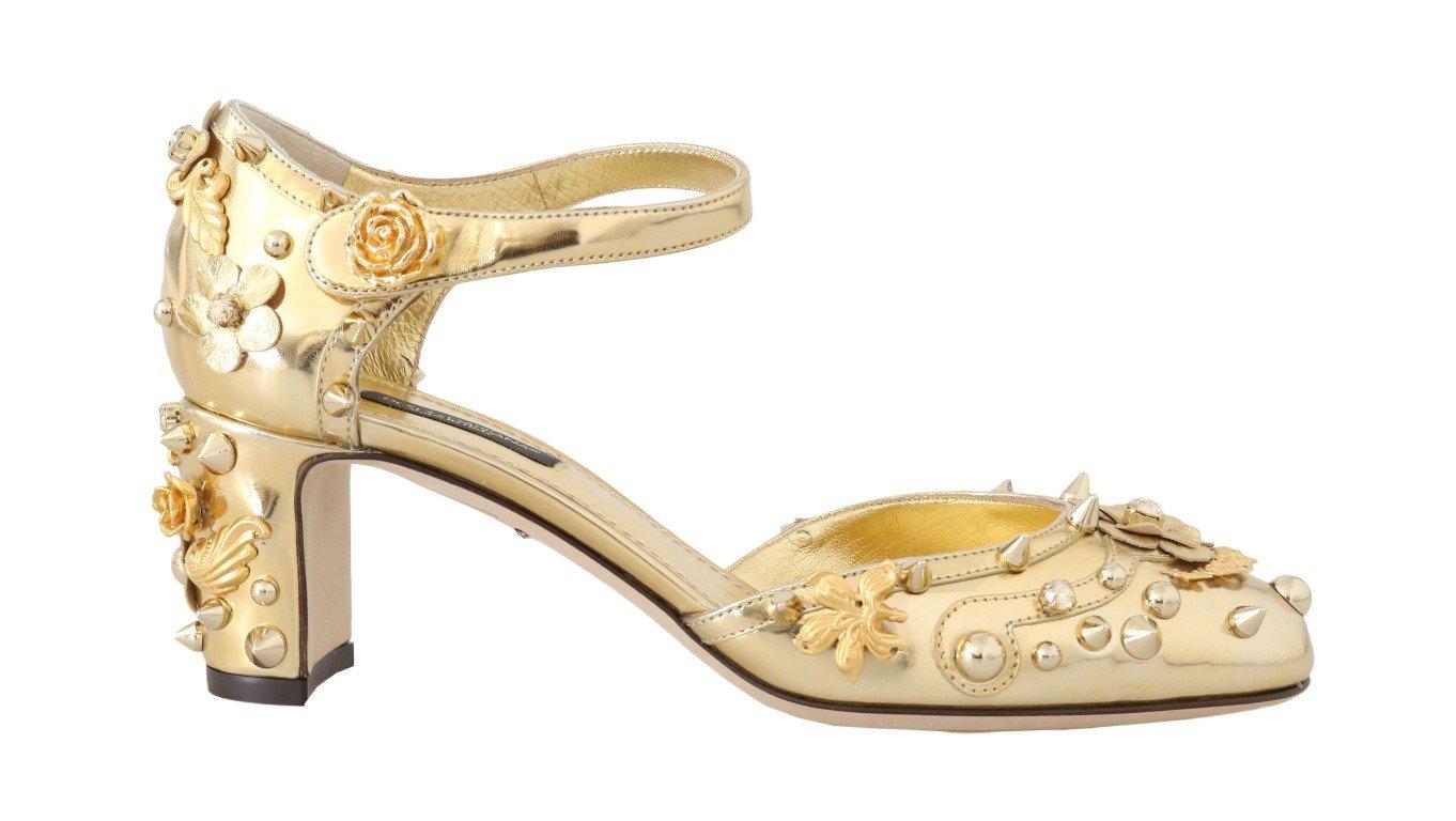 Dolce & Gabbana Women's Leather Floral Studded Pumps Gold LA4325 - EU36/US5.5