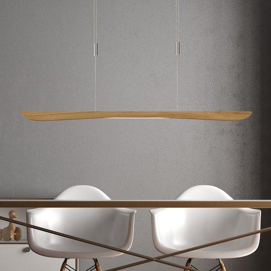 Lucande Hiba LED-pendellampe, naturlig eik, 118 cm