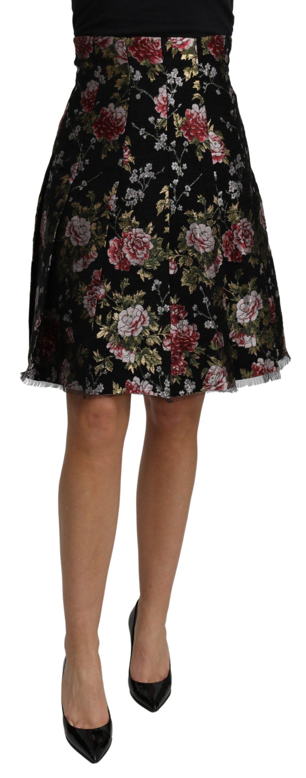 Dolce & Gabbana Women's Jacquard High Waist A-line Mini Skirt Black SKI1466 - IT38|XS
