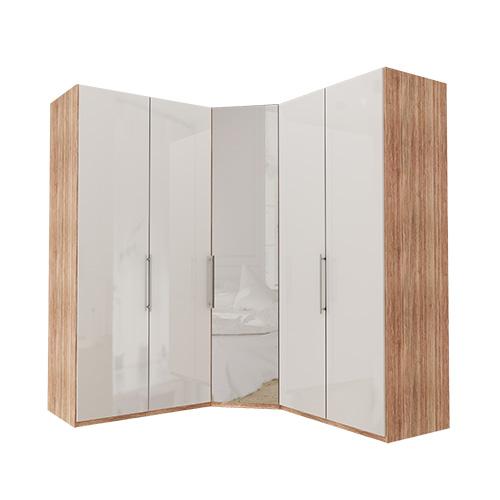 Garderobe Atlanta - Lys rustikk eik 100 + hjørne + 100, 236 cm