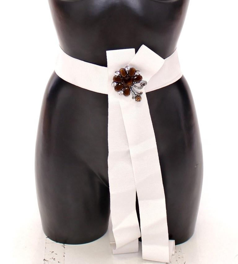Dolce & Gabbana Women's Crystal Brass Wide Waist Runway Belt White GRD11459 - IT42 M