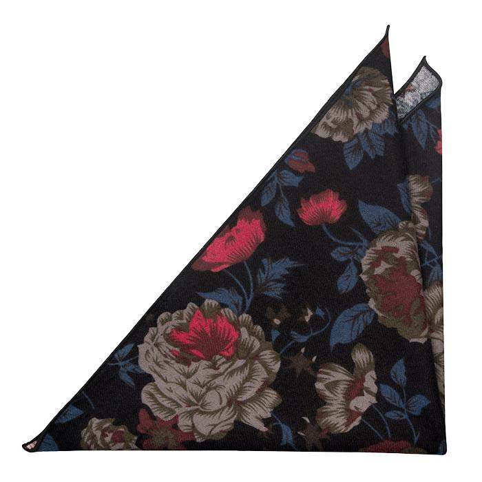 Bomull Lommetørkler, Sort bakgrunn & blomster i rød, beige, blå og brun