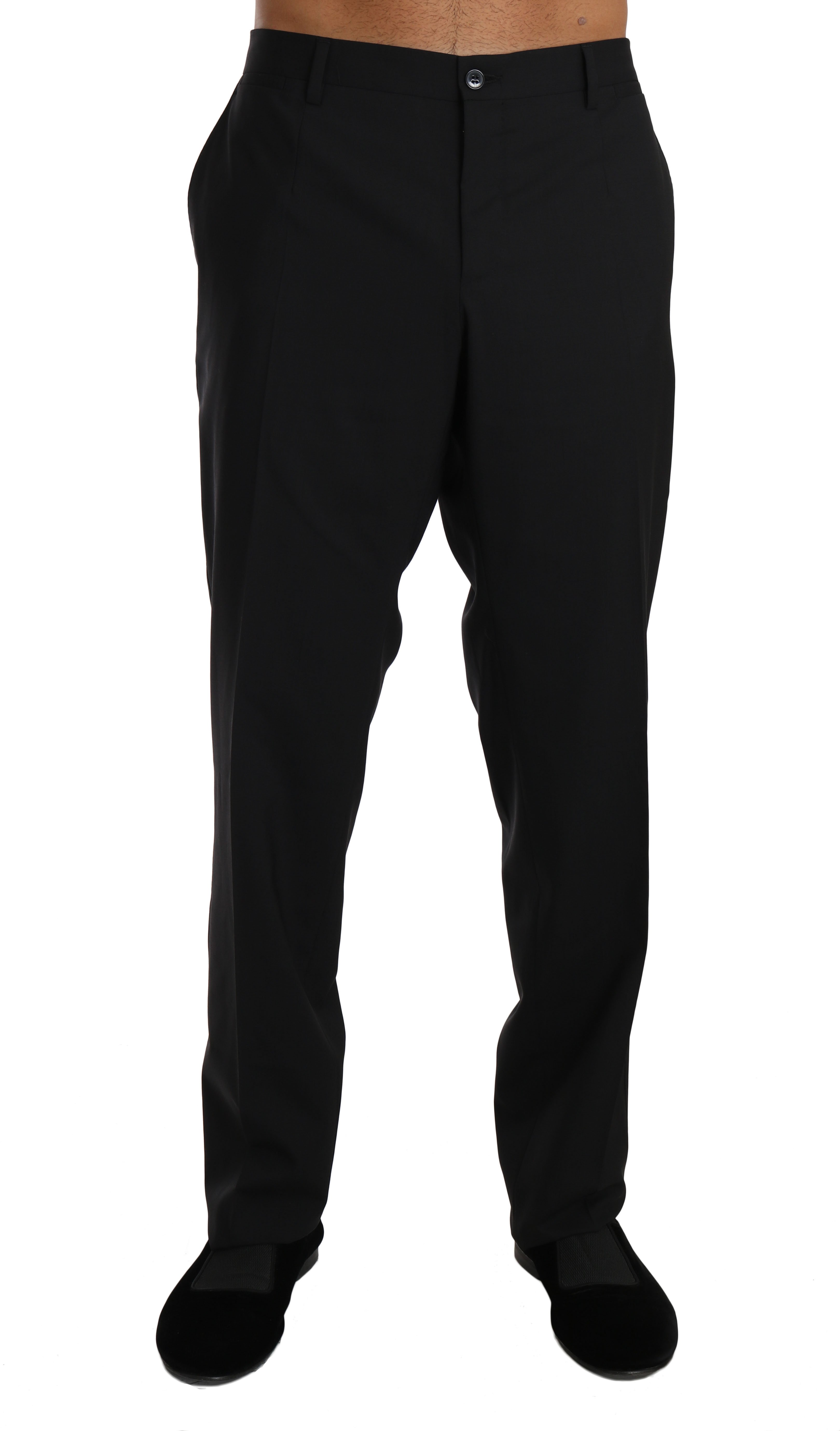 Dolce & Gabbana Men's Cotton Wool Formal Dress Trouser Black BYX1282 - IT54 | XXL