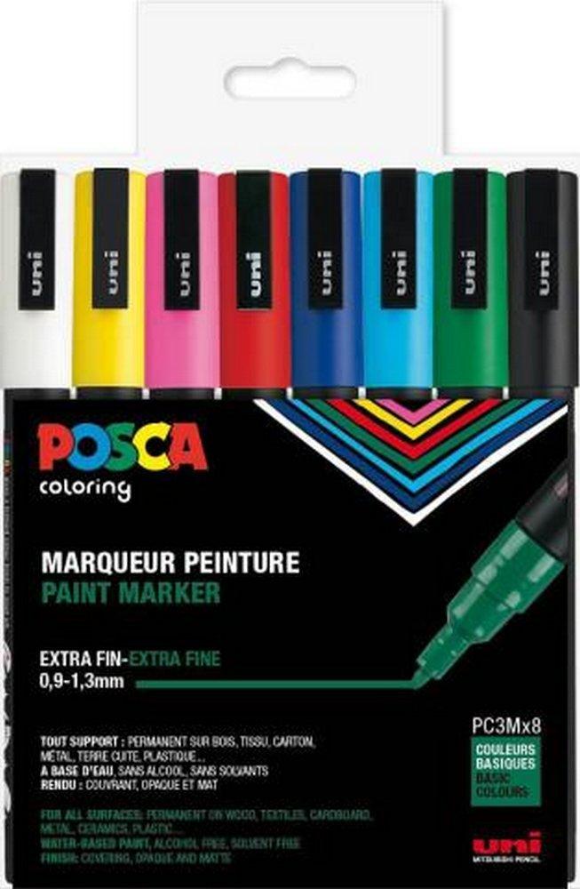Posca - PC3M - Fine Tip Pen - Basic Colors, 8 pc