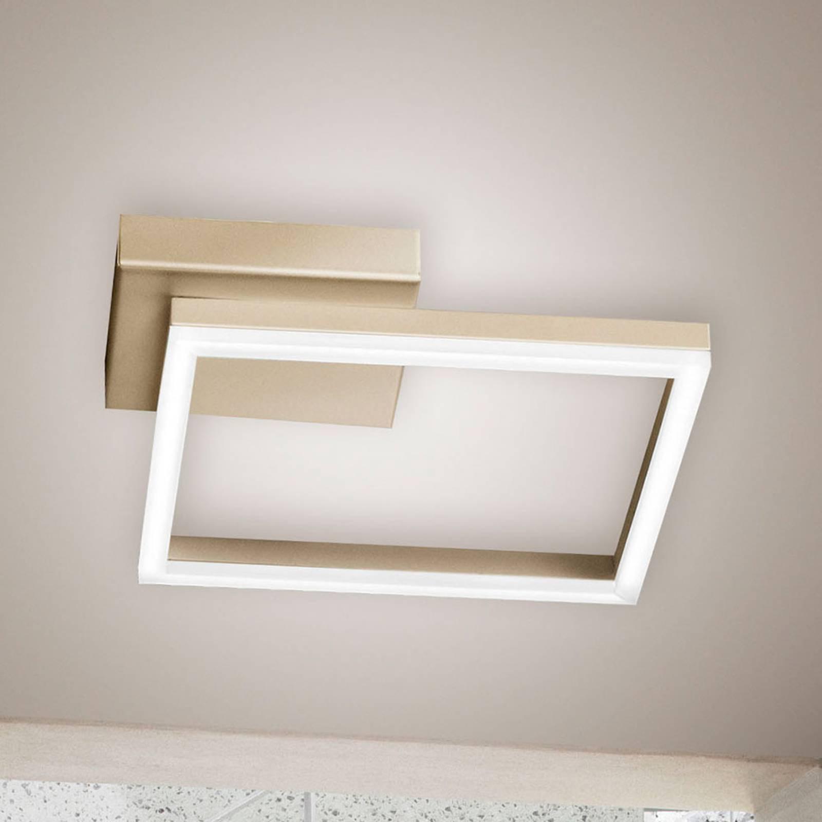 LED-taklampe Bard, 27x27cm, matt gull-finish