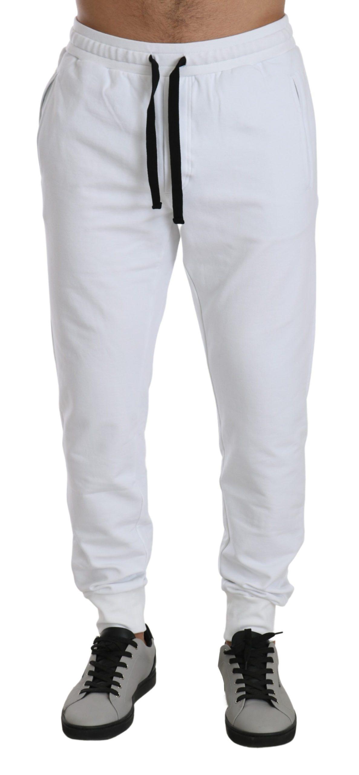 Dolce & Gabbana Men's Crown Jogging Cotton Trouser White PAN71427 - IT50 | L
