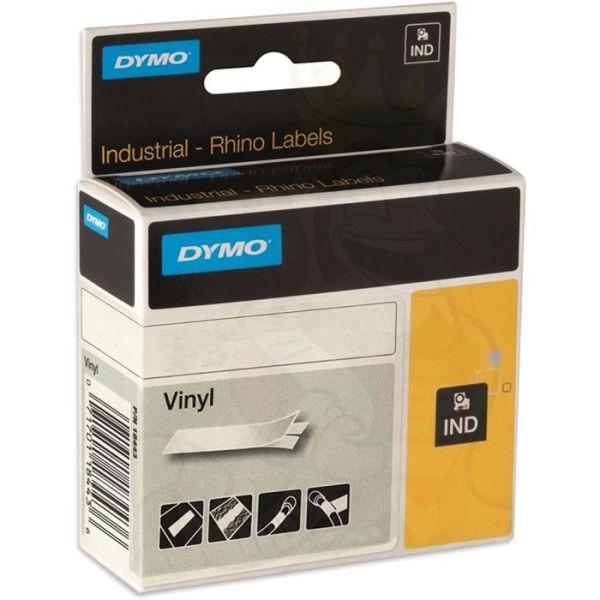 DYMO Rhino Värillinen vinyyliteippi 12mm Musta teksti, valkoinen pohja