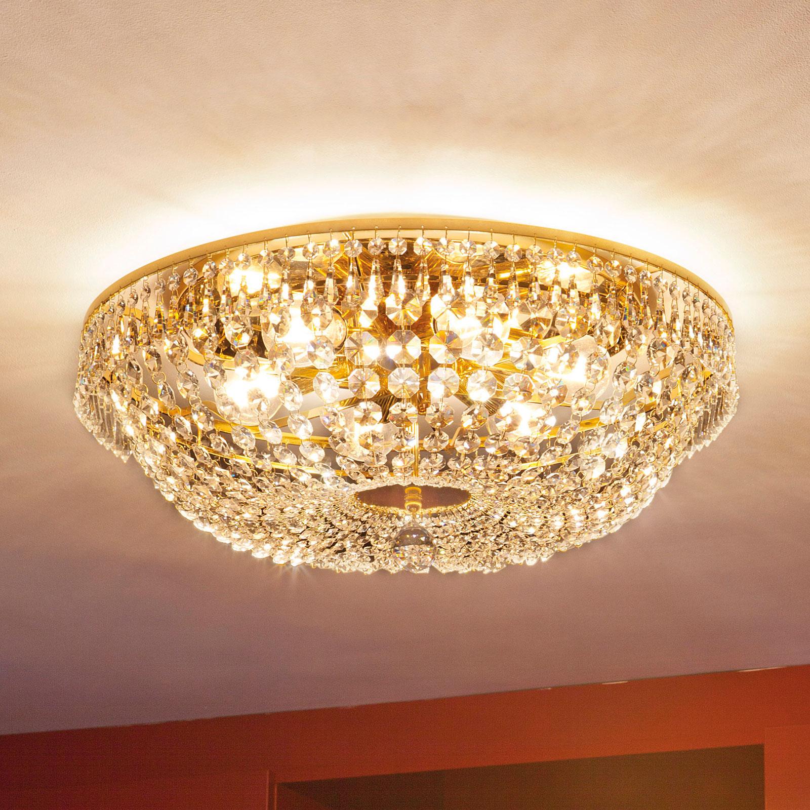 Pyöreä kristallikattokruunu SHERATA, kulta 55 cm