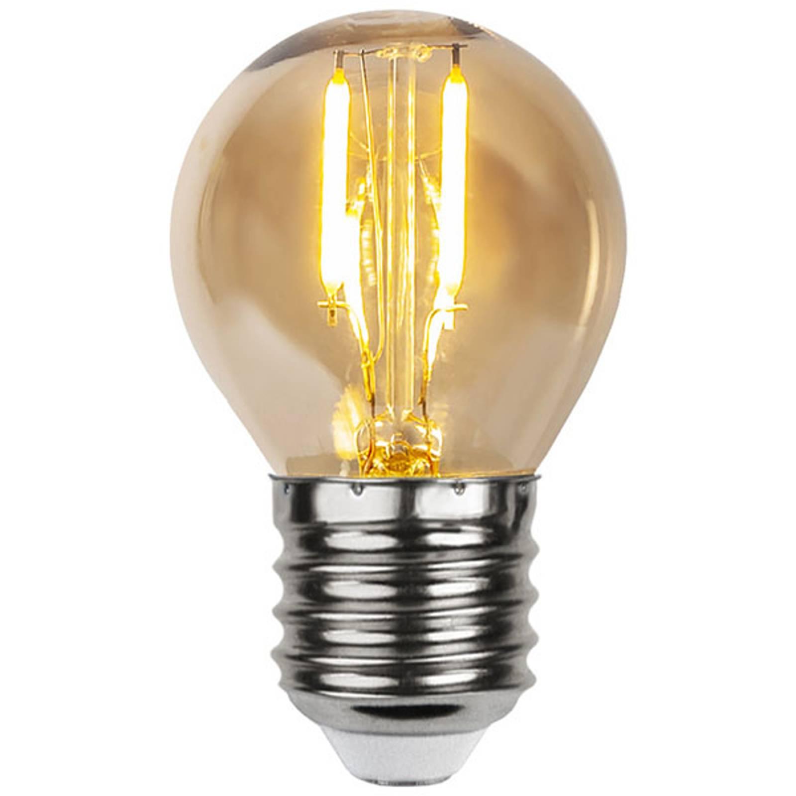 LED-lamppu E27 0,23W G45 filament 24V amber 4 kpl