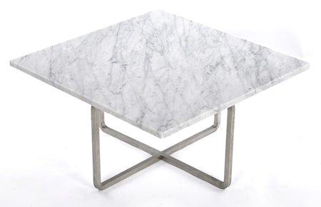 Ninety 60x60 sofabord - Carrara/stomme rustfritt stål