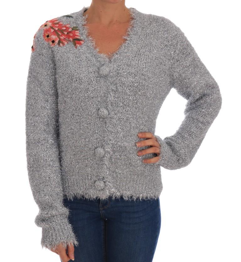 Dolce & Gabbana Women's Floral Applique Cardigan Silver TSH1901 - IT44|L