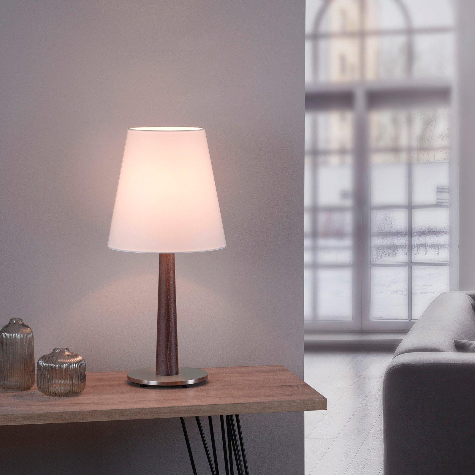 Lucande Elif bordlampe hvit, konisk mørk eik