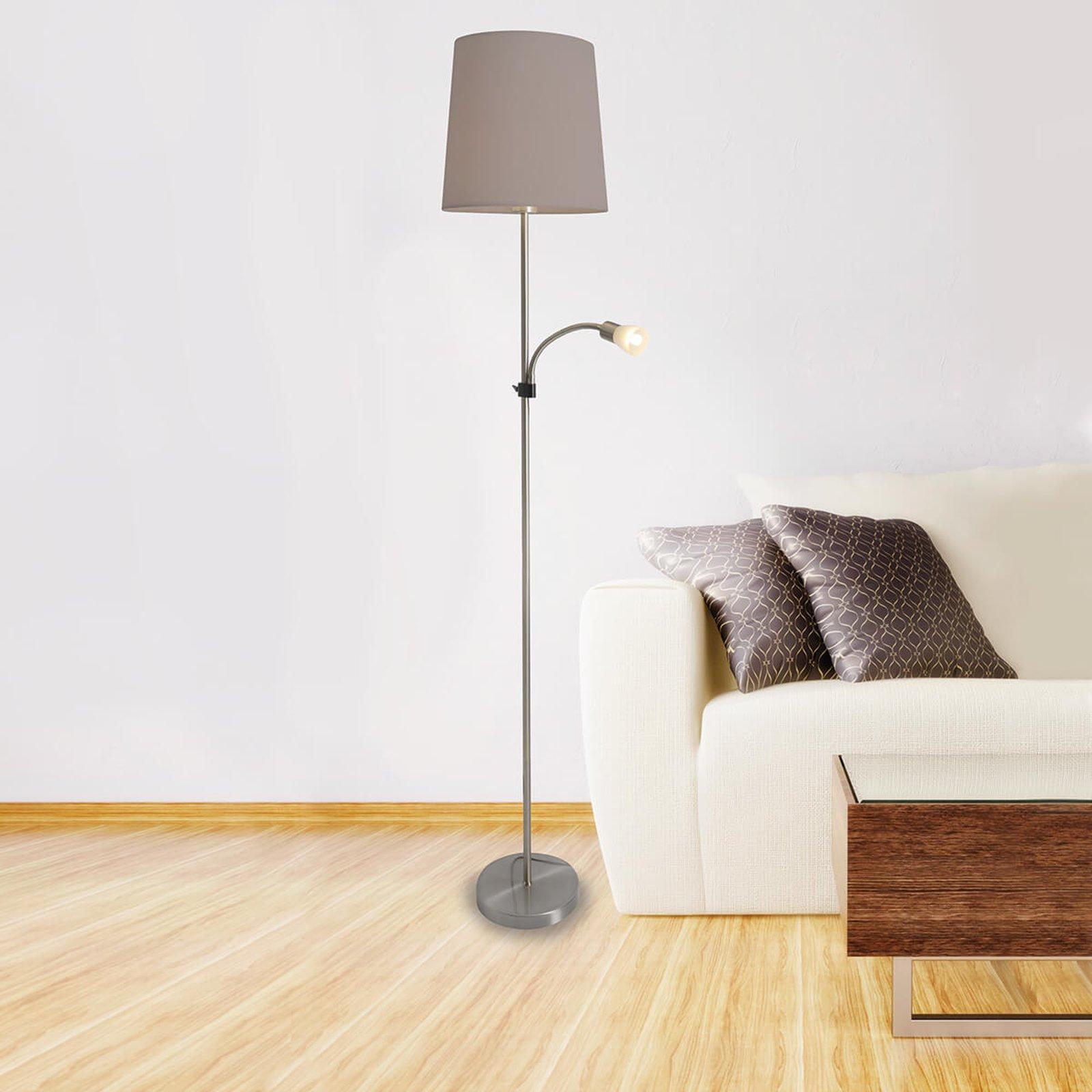 Lara, tekstil-gulvlampe med LED-leselampe
