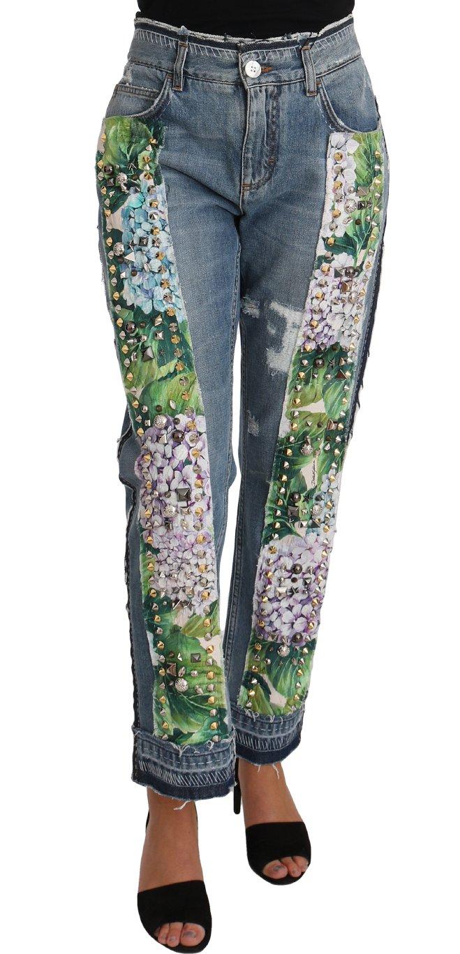 Dolce & Gabbana Women's Hydrangea Crop Studded Jeans Blue PAN61074 - IT40 S