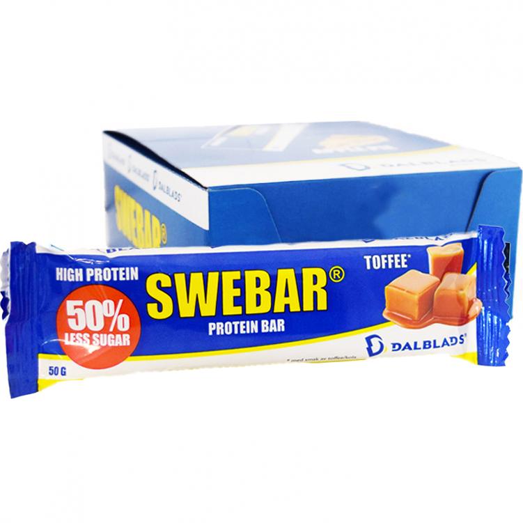 "Hel Låda Proteinbars ""Toffee"" 20 x 50g - 45% rabatt"