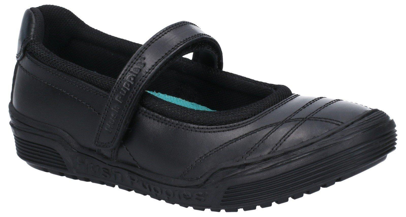 Hush Puppies Kid's Amelia Jnr Touch Fastening School Shoe Black 28975 - Black 10 UK