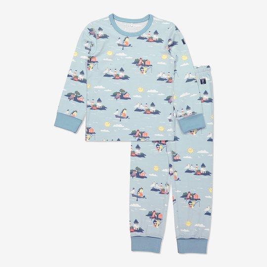 Todelt pyjamas med skjærgårdstrykk lysblå