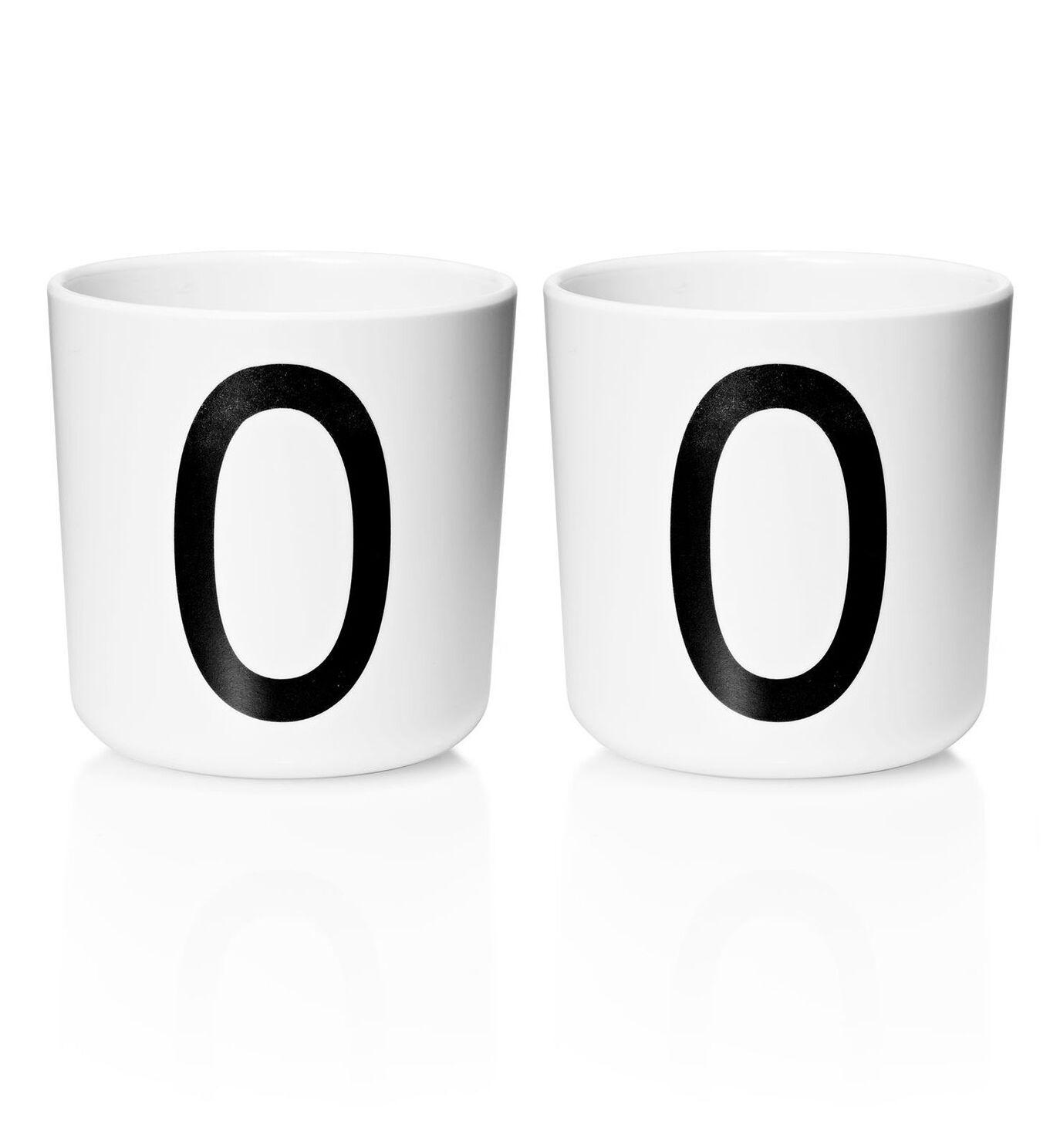 Design Letters - Personal Melamine Cup O - 2 pcs - White - (Bundle)