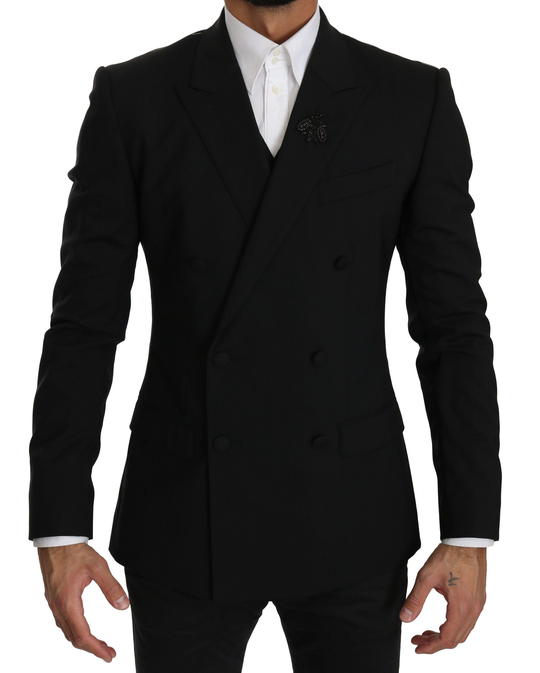 Dolce & Gabbana Men's Wool Stretch Crystal MARTINI Jacket Black KOS1603 - IT46   S