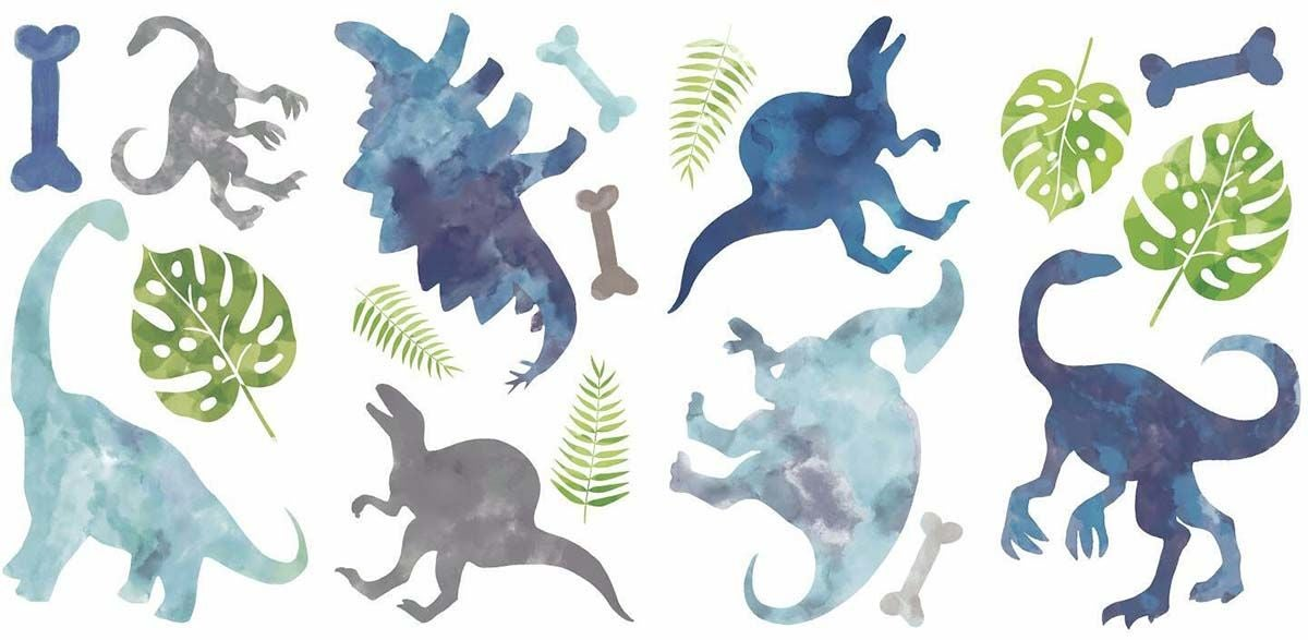 RoomMates Sisustustarrat Watercolour Dinosaurs