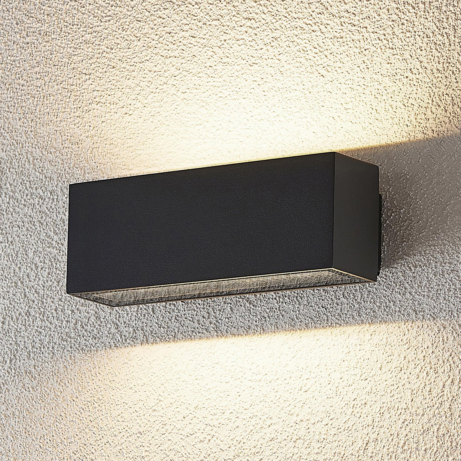 Utendørs LED-vegglampe Oliver, mørk grå, 18 cm