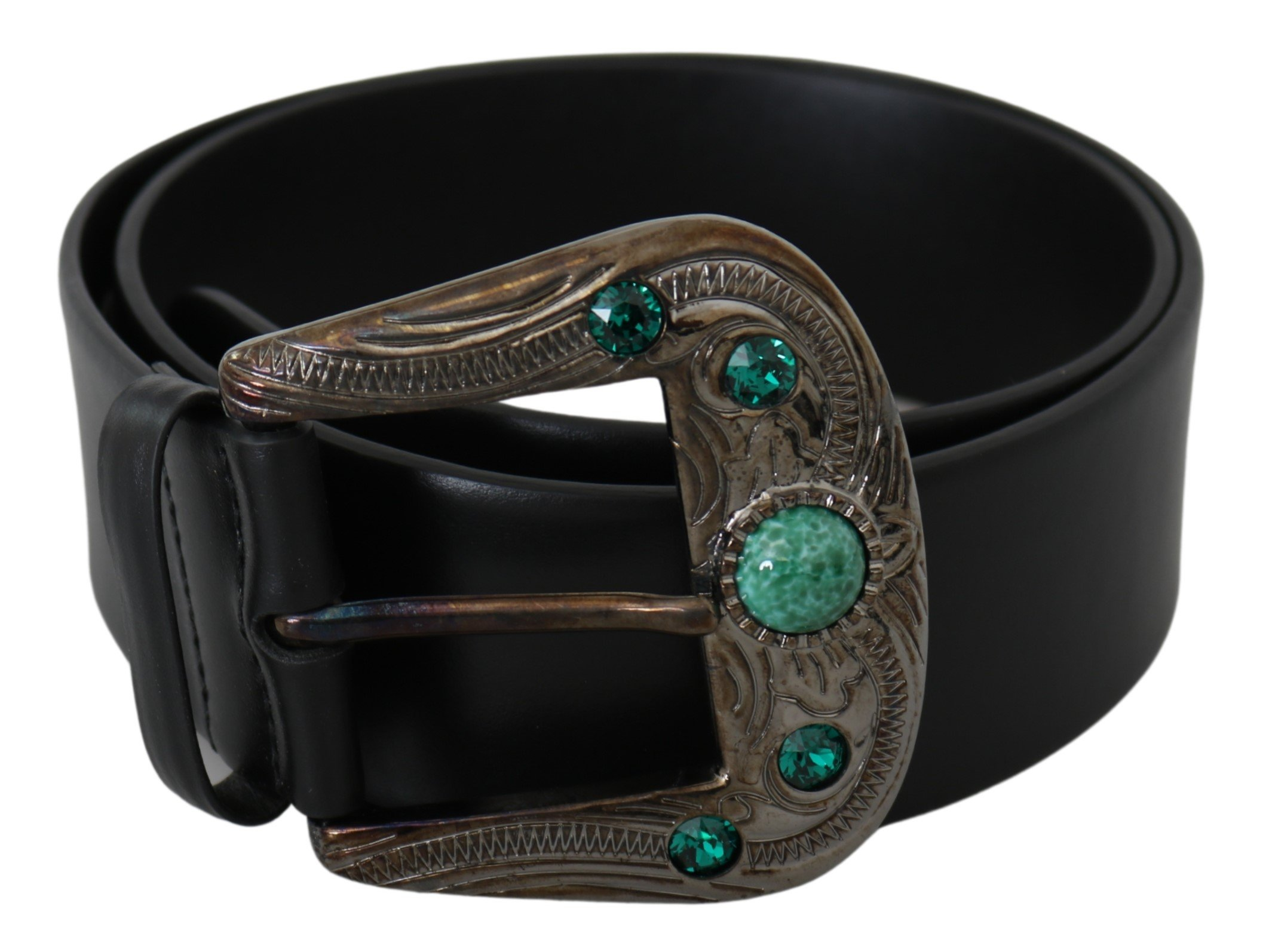 Black Leather Green Crystal Baroque Buckle Belt - 90 cm / 36 Inches