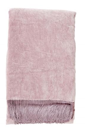 Filt Velvet med fransar - Light purple