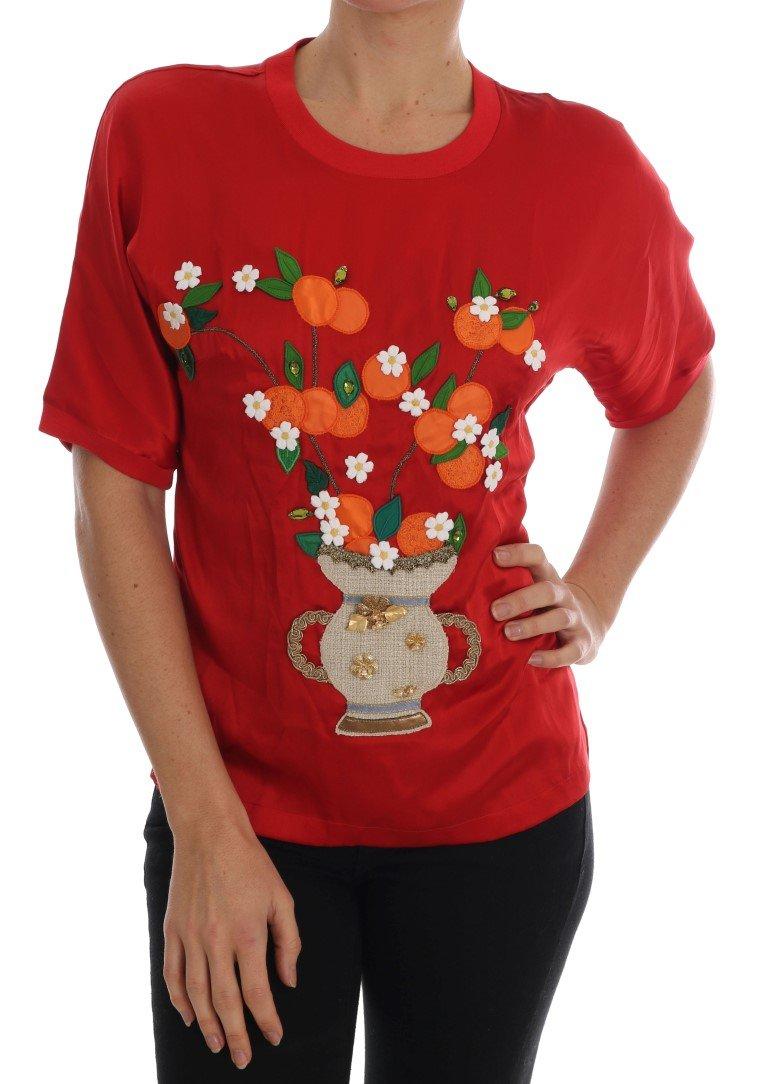 Dolce & Gabbana Women's Crystal T-Shirts Red TSH1754 - IT36   XS