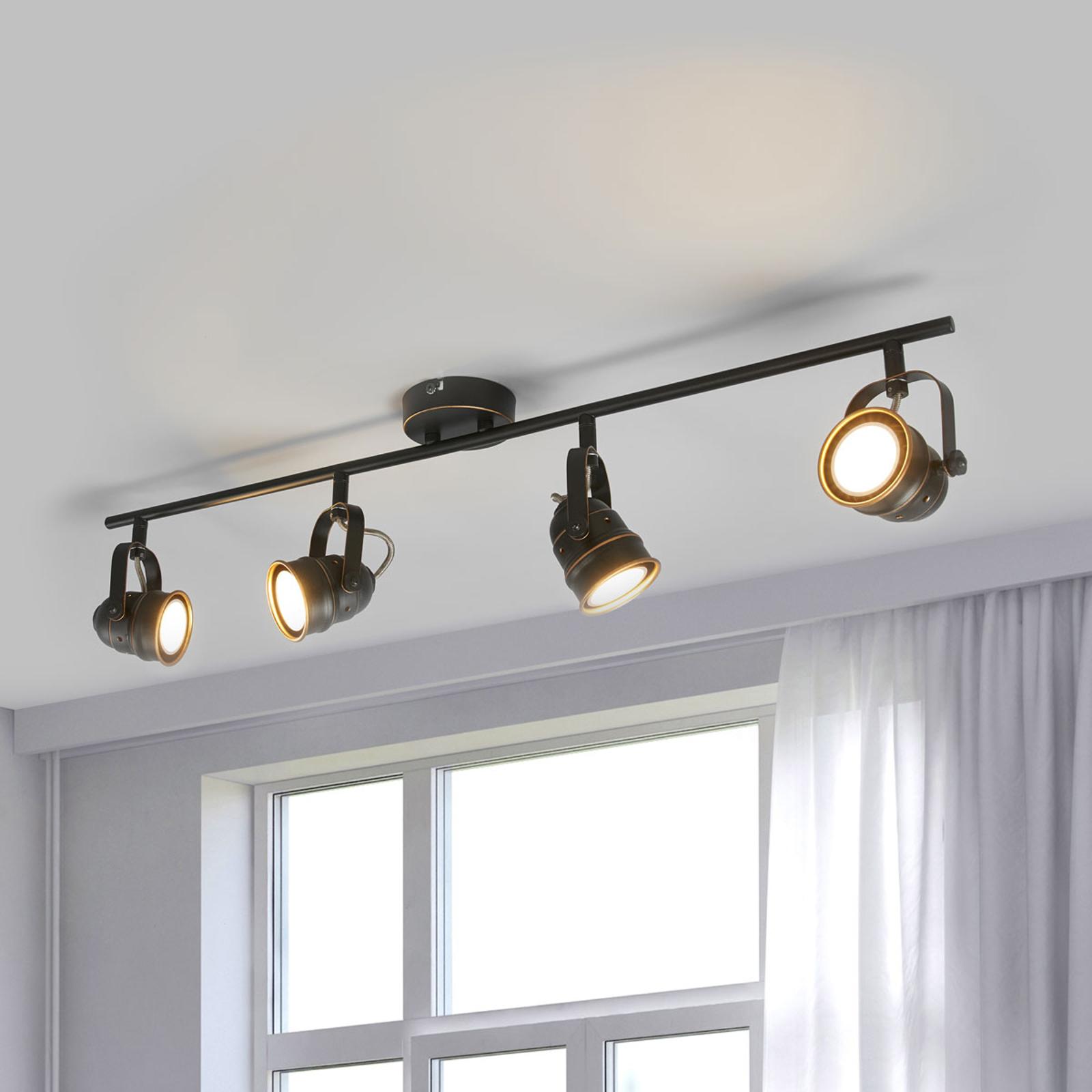 4-lamppuinen LED-kattolamppu Leonor, musta-kulta