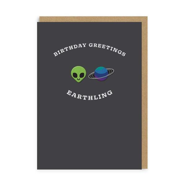Alien & Planet Earthling Birthday Woven Patch Card