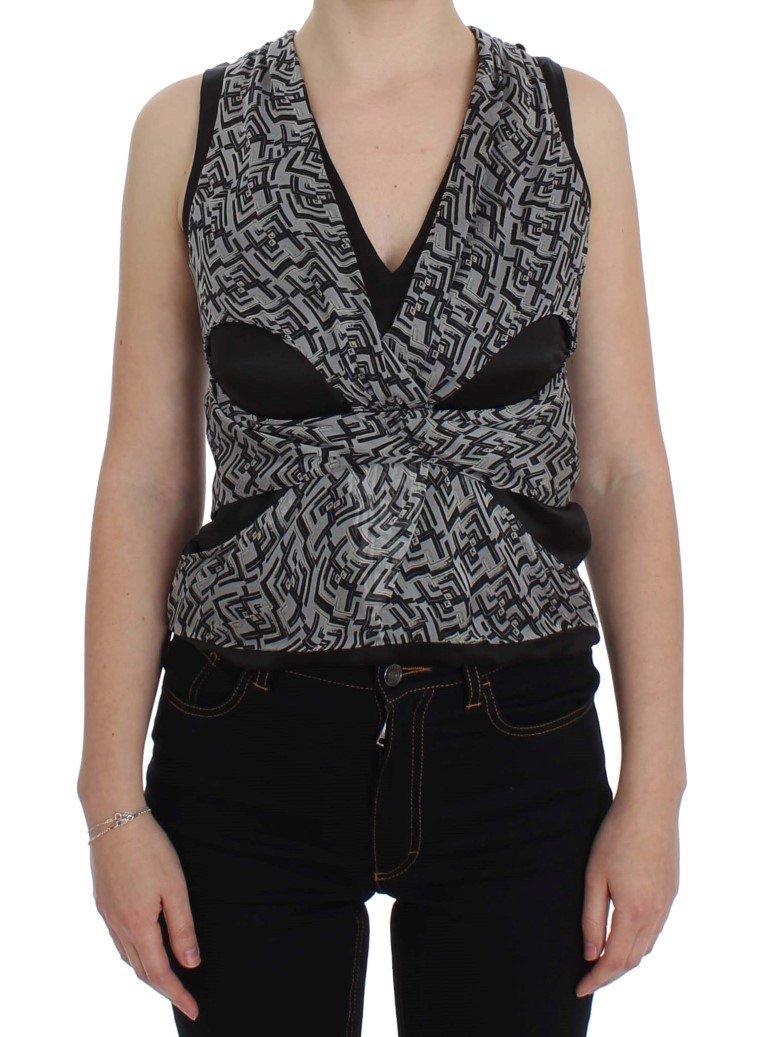 Karl Lagerfeld Women's Silk Top Grey SIG32530 - IT40|S
