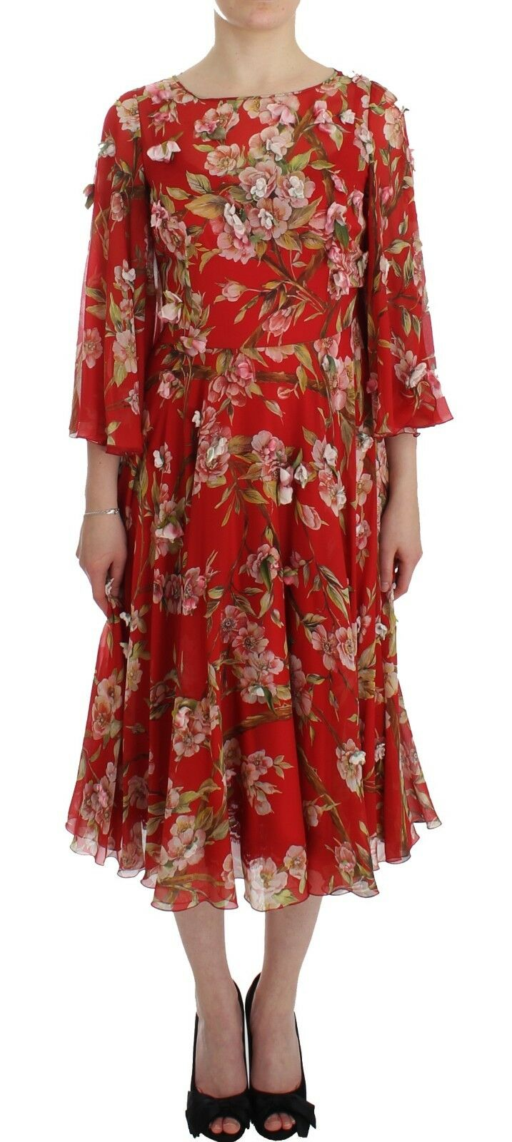 Dolce & Gabbana Women's Floral Print Silk Runway Dress Red SIG12488 - IT42|M