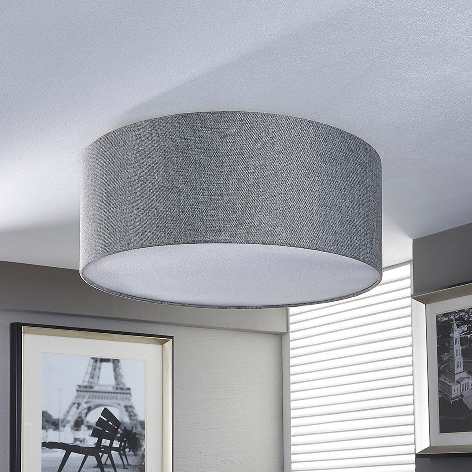 Sølvgrå stofftaklampe Pitta med linutseende