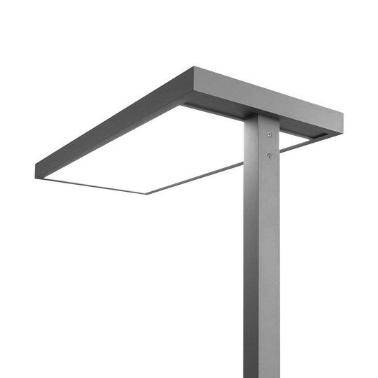 LED-kontorgulvlampe Somidia, dimmer, sensor, sølv