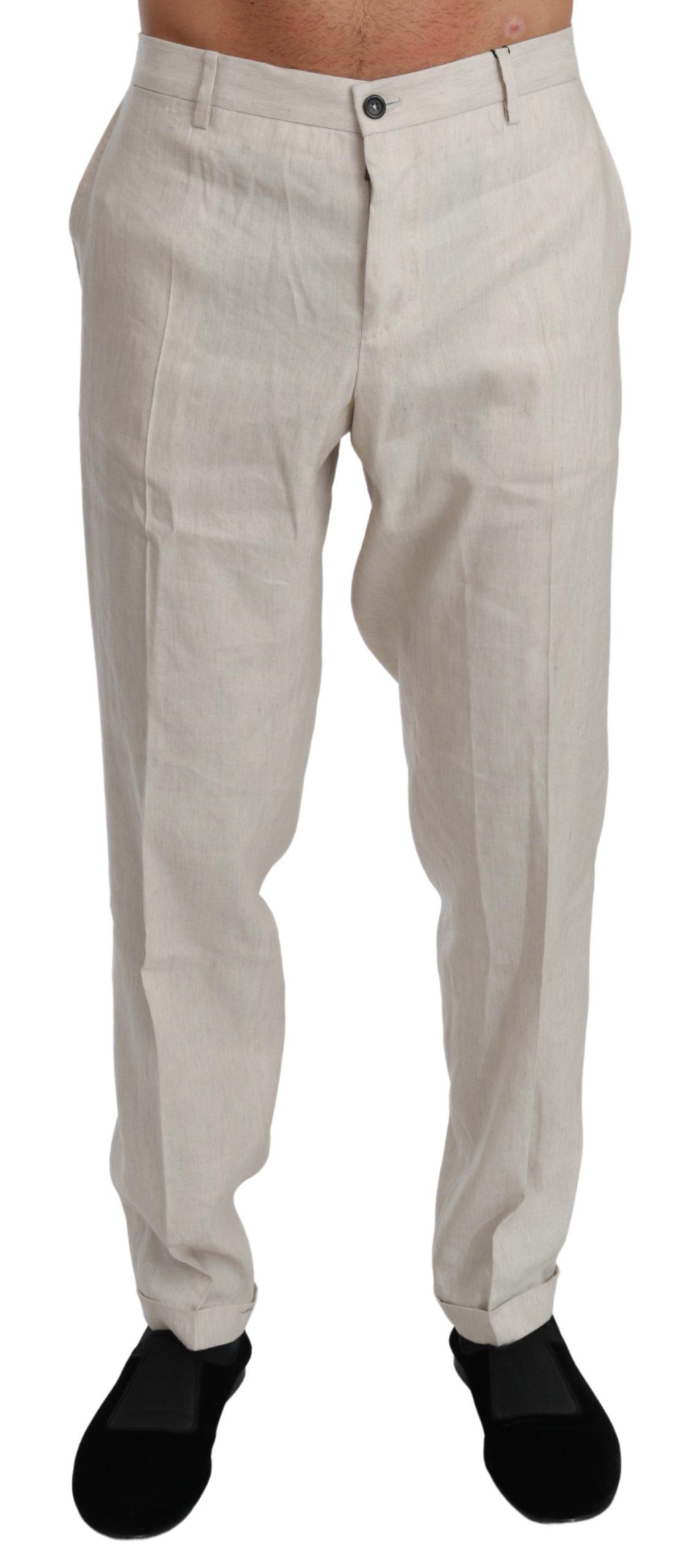 Dolce & Gabbana Men's Linen Casual Flax Trouser White PAN70993 - IT52 | XL