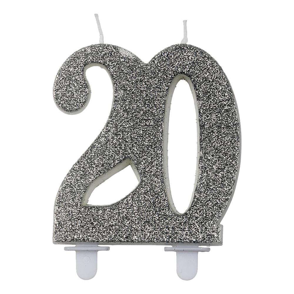 Sifferljus Glitter Silver - Siffra 20