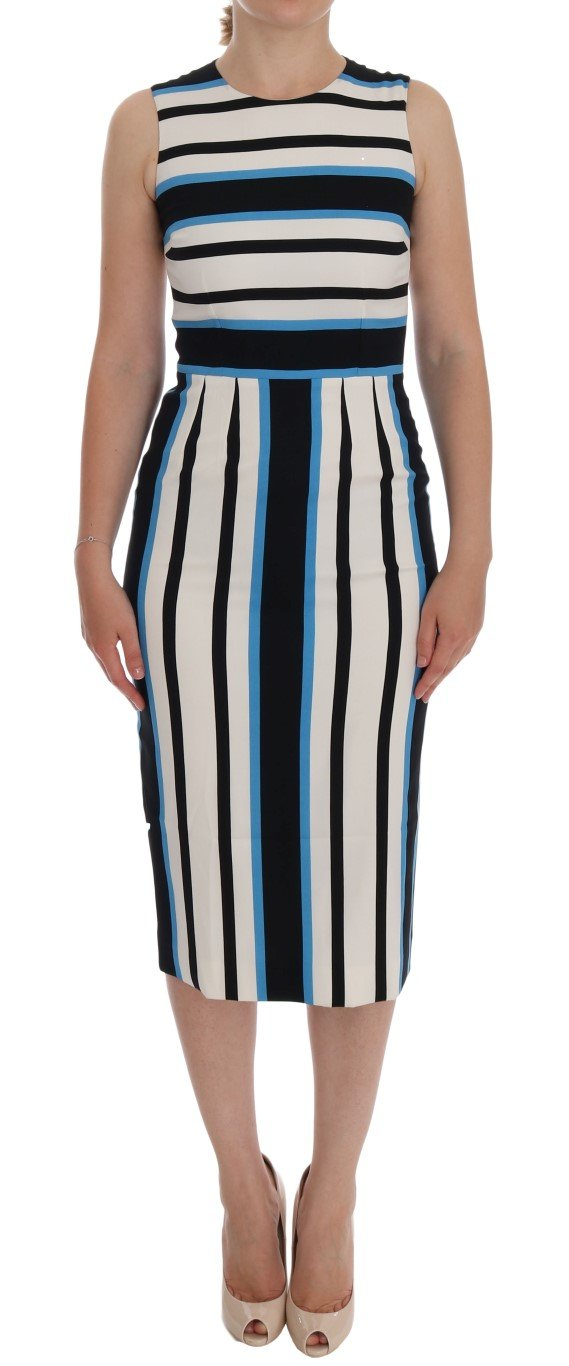 Dolce & Gabbana Women's Striped Silk Stretch Sheath Dress Multicolor DR2001 - IT38|XS