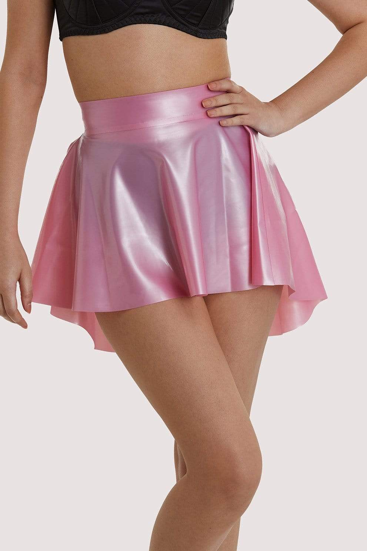 Bettie Page Pink Latex Flippy Skirt UK 10 / US 6